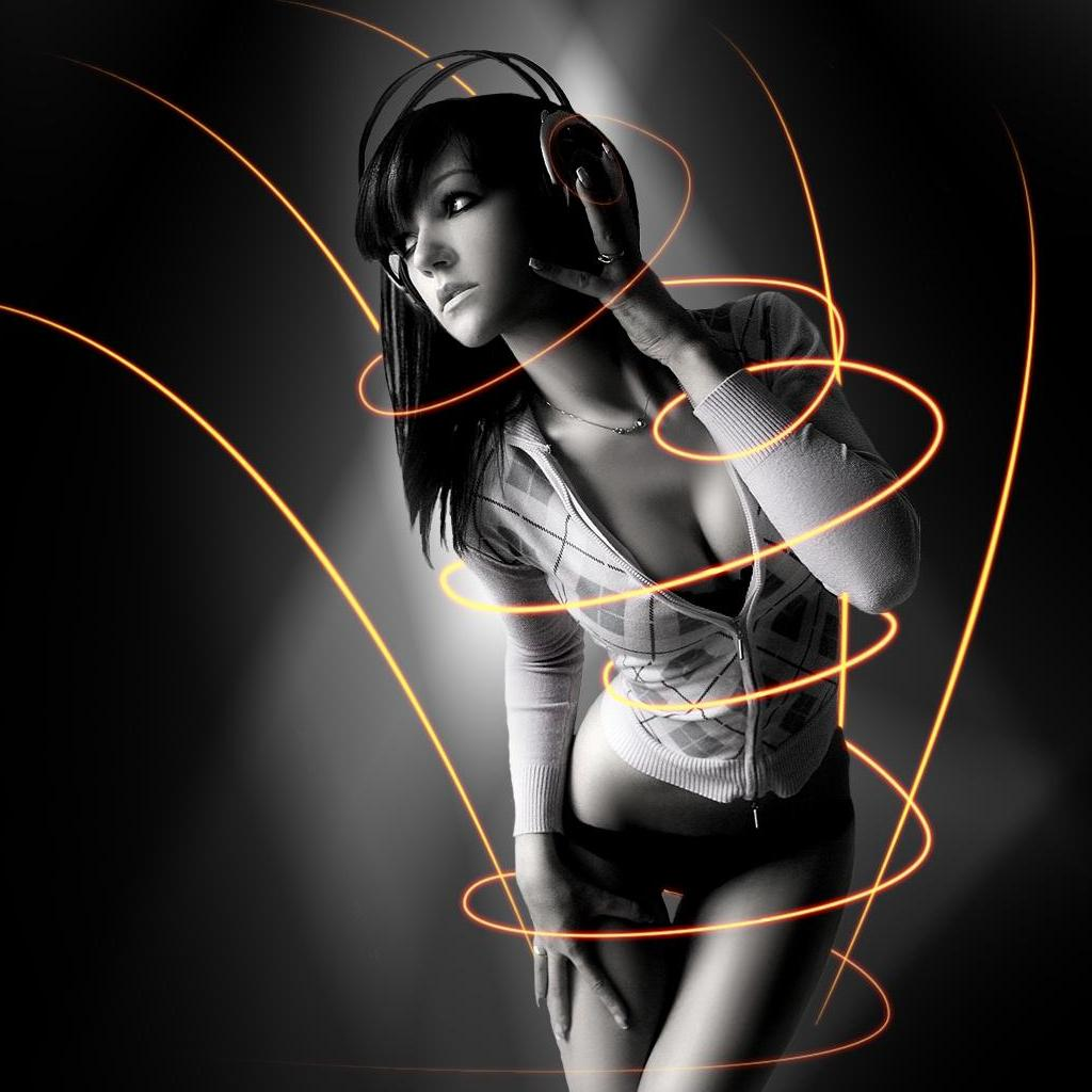 music cleavage headset headphones girl 1680x1050 wallpap Wallpaper
